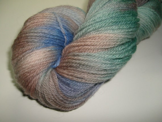 Hand dyed yarn, worsted weight, 220 yards, Peruvian Highland Wool,Storm Season