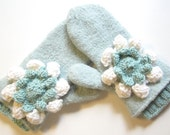 Mint Felted Mittens with knit flowers CUSTOM ORDER for Missie