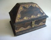 Wooden TREASURE CHEST with Brass and Copper Filigree