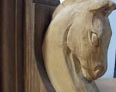 Sculpté à la main Vintage serre-livres de tête de cheval de Troie