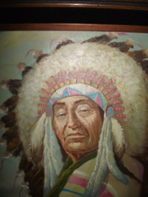 Native American Indian Chief signed Oil Painting