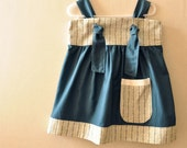 Teal Blue and Striped Dress, Eco Friendly, OOAK, Cotton, Size 3T, Ready to Ship