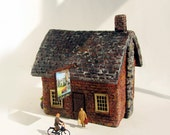 RESERVED for mcassaday - The Castle Stag -  Handmade Old English Stone Village Shoppe / Inn / Public House -  HO Scale Miniature Building