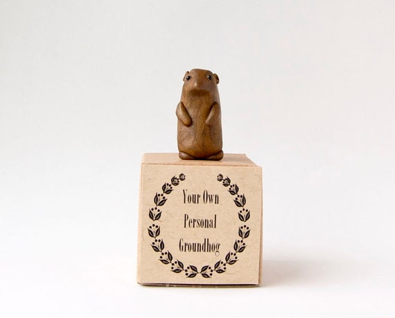 Miniature Groundhog Sculpture - Groundhog Day Gift by Bewilder and Pine