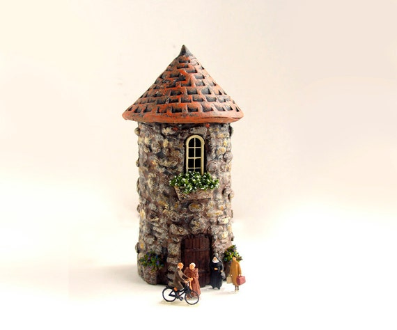 The Hermitage - Handmade Small Round Stone Sanctuary - French Country House - HO Scale