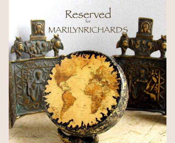 RESERVED for Marilyn Richards - Modern Antiquity Map - Miniature Handmade Globe with Vintage Map Reproduction