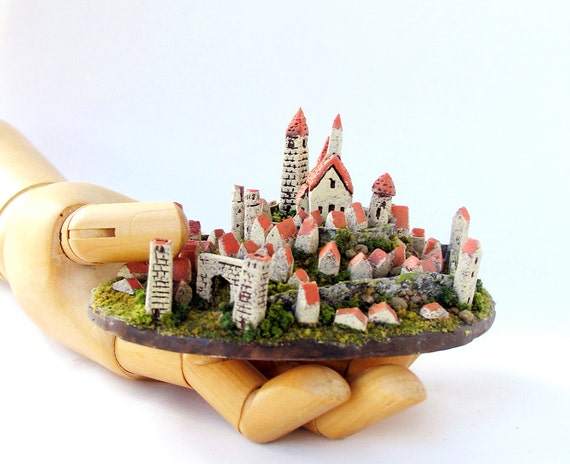 Miniature Medieval Walled Village - Tiny Landscaped French Commune on a Hill by Bewilder and Pine
