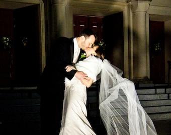 Cathedral length veil with Alencon lace trim - Lauren