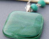Morning Dew on Grass Fused Glass Pendant Necklace