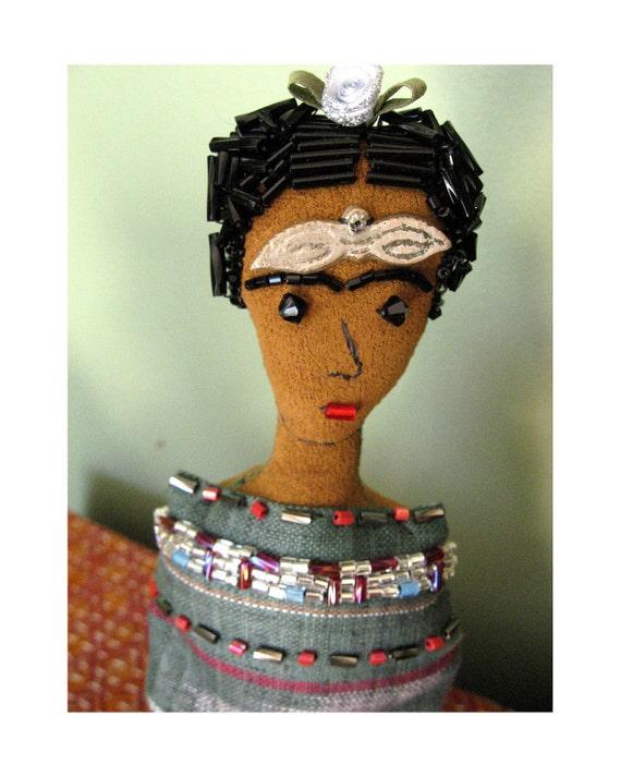 Frida Kahlo Art Doll with Milagros