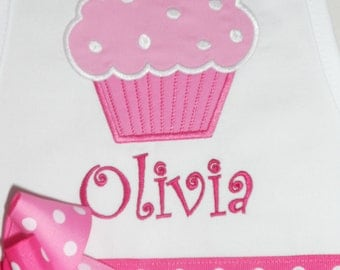 Pink Cupcake on White Apron