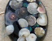 Resin Pendant with sea shells, crystals and mini glass marbles