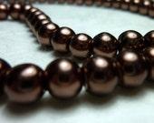 Glass Bead - Pearl Bead - Round Bead - Auburn pearl bead - Brownish copper Bead -  Brown glass bead  -