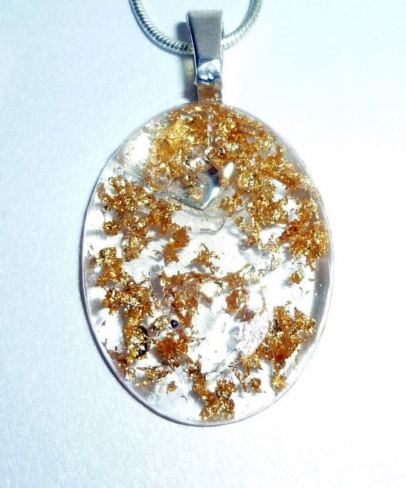 gold flakes epoxy resin pendant necklace by penneedesigns