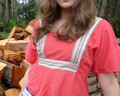 Red Polka Dot Hippie Shirt w/ Chevron Shape S/M