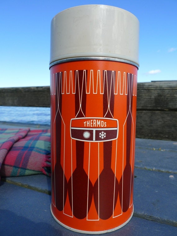 Orange and Brown 70s Thermos, Pint Size