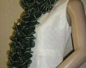 Ballerina, Frilly,  Fancy Dark Green and Gold SCARF