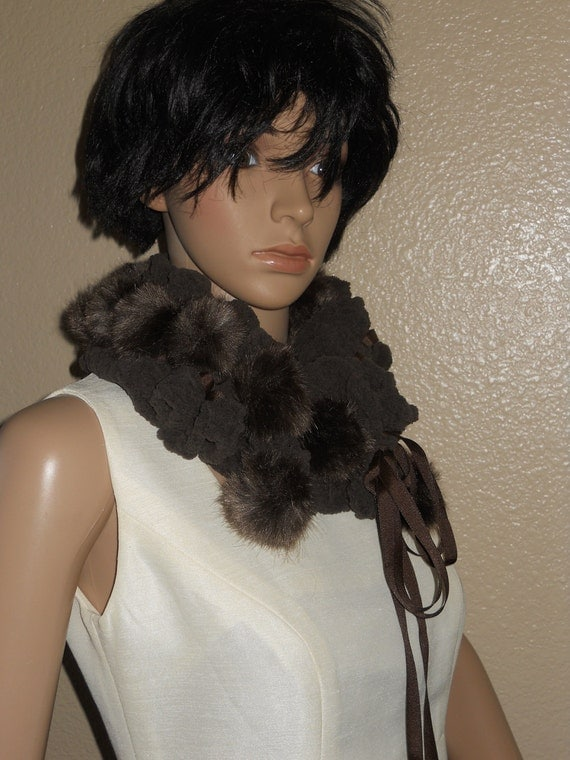 Brown Pompom Chenille cowl/Scarf Ready to SHIP