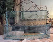 Farmhouse Decor CUTE Chippy Vintage Mesh Wire Wall Basket Authentic Rust Cottage Chic