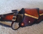 Men's Steampunk Leather Armor Shoulder. Red/Brown/Orange/Black with Brass By Parkers and Quinn -Reduced price