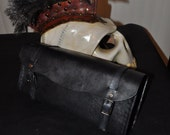 Motorcycle Tool Bag. Black leather. Bobber, chopper Rat cafe racer. Handmade by Parkers and Quinn