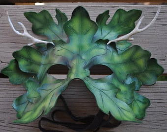 MADE TO ORDER- Leather Greenman mask by Parkers and Quinn.Wearible Art, Display, Labyrinth Mardi Gras Renfest Wicca