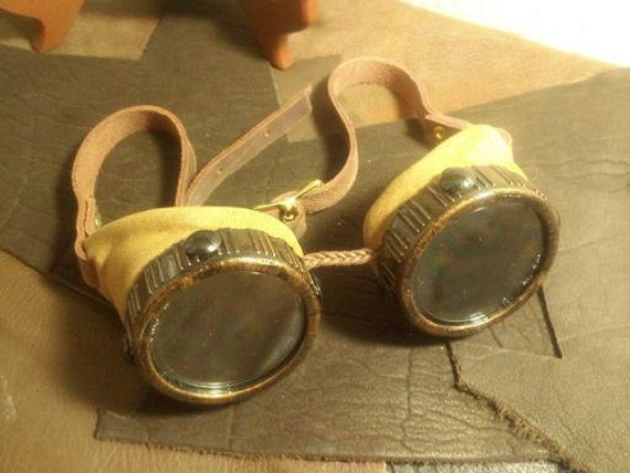SALE-Steampunk leather Goggles, By ParkersandQuinn. Tan Suede.Dandy,LARP,Roleplay,Convention,Anime,Costume,Burningman