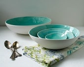 Large Aqua Nesting Bowl Set