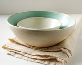 Sale Turquoise and Pistachio Stoneware Nesting Bowl Set
