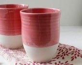Sale Two Dipped Porcelain Cups in Strawberry Pink