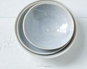 Modern Organic Gray Blue Porcelain Bowls