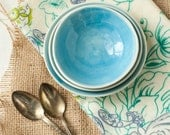Mini Nesting Bowls in Cerulean Blue and White Porcelain