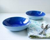 Two Blue Porcelain Bowls with Cobalt Glaze