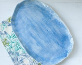 Watercolor Textured Porcelain Large Serving Tray