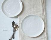 Two Simple Porcelain Dessert Plates