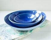Nesting Bowls in Blue Porcelain and Cobalt