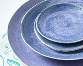 Textured Lilac Gray Stoneware Stacked Serving Plate Set
