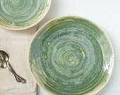 Dark Moss Green Textured Stoneware Serving Platter Set