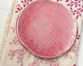 Two Pink Textured Porcelain Dessert Plates