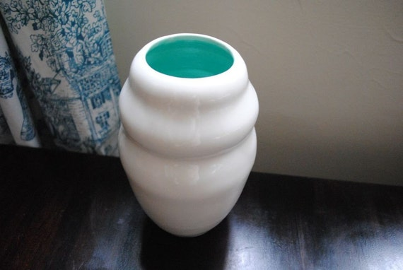 Cocoon Vase in White and Caribbean Blue Handmade Contemporary Porcelain Vessel