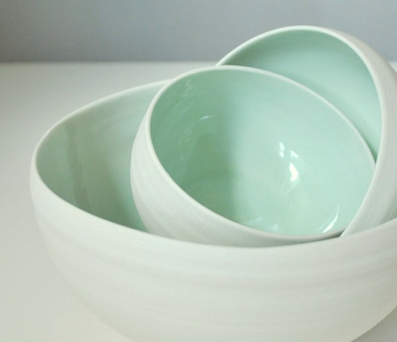 25% Off Sale Three Piece Organic Porcelain Nesting Bowl Set in Sea Foam Green and Modern Unglazed White