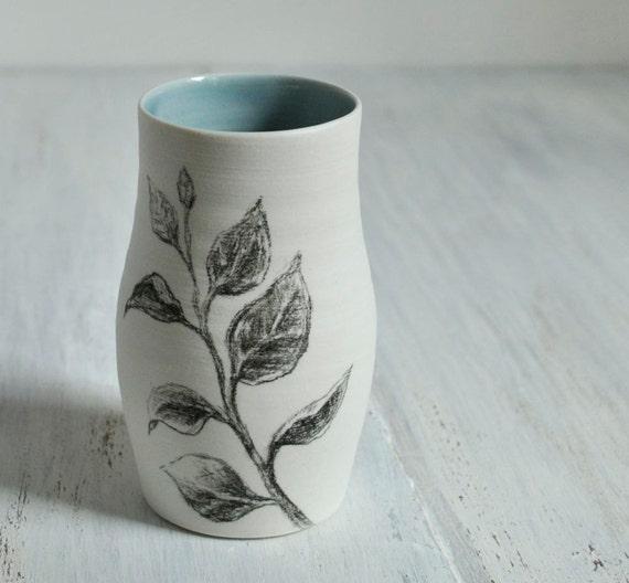 Sketchbook Leaf Vase in Sapphire Blue and White Porcelain Vase