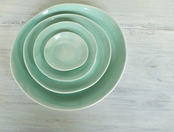Aqua Stacked Plate Set of Four