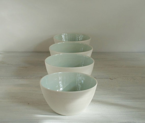 Four Pale Aqua Soup Bowls