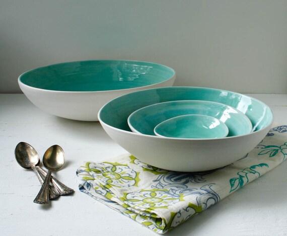 Large Aqua Nesting Bowl Set