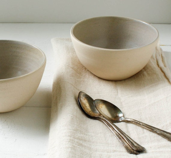 Lavender Gray Stoneware Bowl Set