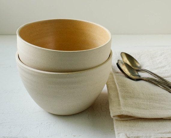 Butterscotch and Buff Stoneware Bowl Set