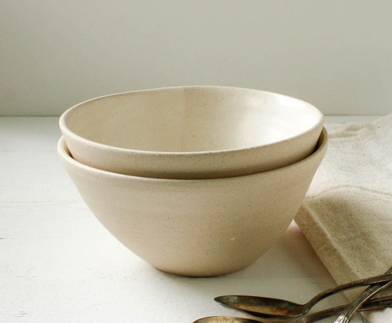 Sale Two Ivory and Buff Stoneware Bowl Set
