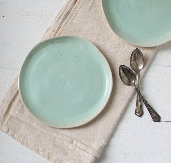 Two Mint Stoneware Organic Dessert Plates