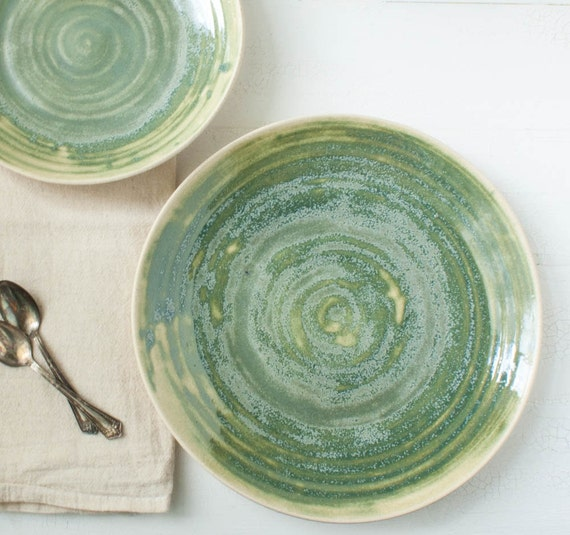 Dark Moss Green Textured Stoneware Serving Platter Set